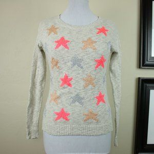 Lauren Conrad Multi Color Star Long Sleeve Knitted